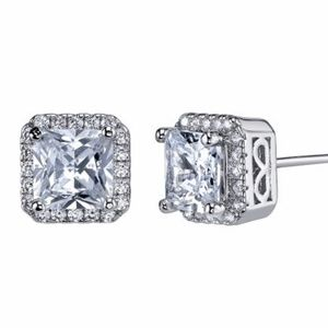 Jewelry - Emerald Cut Halo SS Earrings